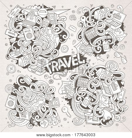 Line art vector hand drawn doodle cartoon set of travel planning theme items, objects and symbols. Paper background