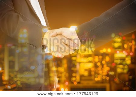double exposure of commitment businessman and city bokeh light - can use to display or montage on product