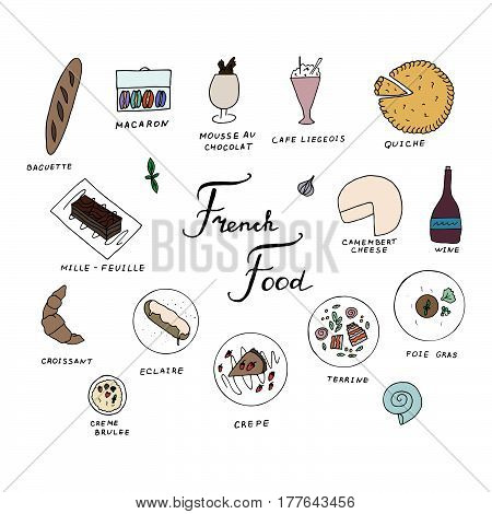 Hand drawn traditional french cuisine menu. French food with baguette macaron mousse au chocolat cafe liegeois quiche mille feuille eclaire camembert cheese croissant creme brulee crepe terrine foie gras wine.