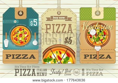 Pizza Price Tags for Italian Menu. Set on White Wooden Background. Vector Illustration.