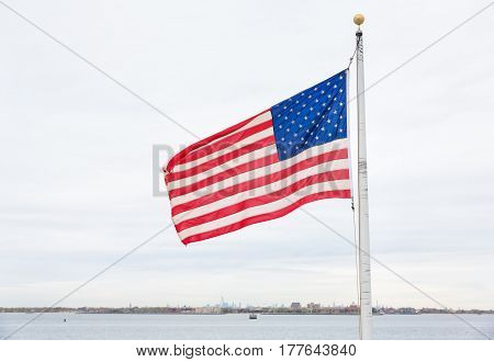 American Flag On  Breezy Point