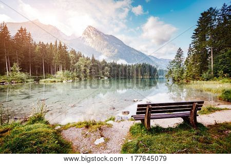 Scenic surroundings of popular tourist attraction Hintersee. Picturesque scene. Location resort Ramsau, National park Berchtesgadener, Upper Bavaria, Germany Alps, Europe. Explore the world's beauty.