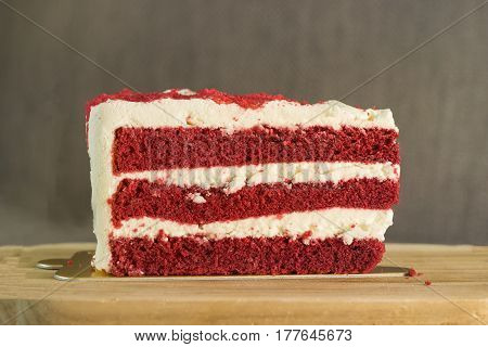 red velvet cake on wood block for sweet desert - can use to display or montage on product