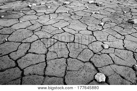 Monochrome clay texture of drying prism desiccation cracks in ground. Cracked and dried mud dirt and stones background texture.