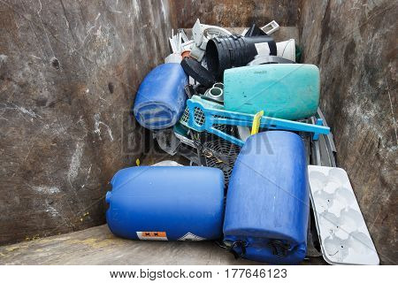 Pile of sorted plastic waste prepared for recycling. Waste disposal collection separation management treatment reuse recycle and recovery concept.
