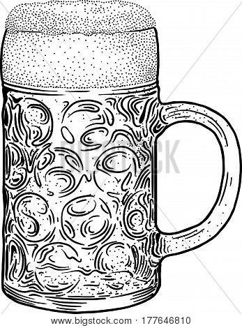 Beer mug illustration, drawing, engraving, ink, line art