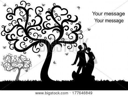 Wedding card with the newlyweds on a white background with decorative tree. Bride and groom. Also suitable for invitation card.