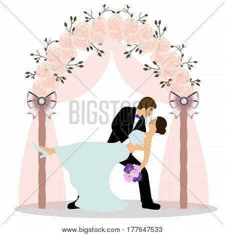 Wedding arch with bride and groom isolated on white background. Bride and groom. Wedding design. Wedding decoration. Vector illustration.