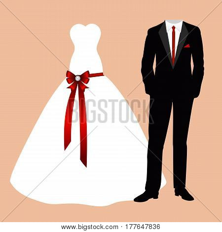 Wedding card with the clothes of the bride and groom. Beautiful wedding dress and suit. Vector illustration.