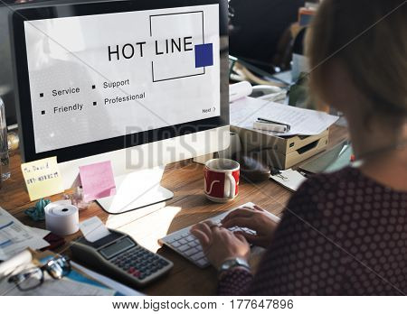 Hot Line Customer Service Support Concept