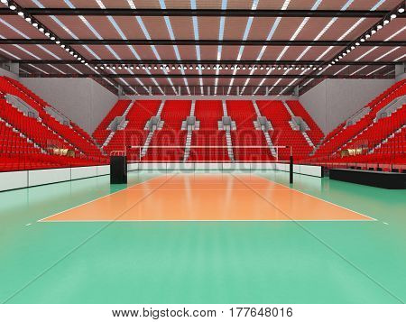 Beautiful Sports Arena For Volleyball With Red Seats And Vip Boxes