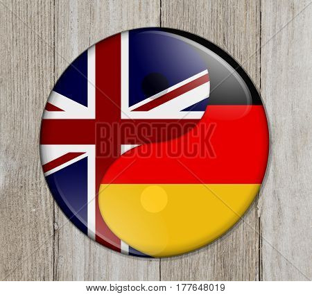 Britain and Germany working together The British flag and German flag on a yin yang symbol on weathered wood 3D Illustration