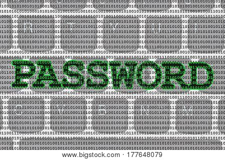 Secure passwords for online use A close-up of a keyboard with zero and ones with text Password 3D Illustration