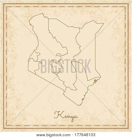Kenya Region Map: Stilyzed Old Pirate Parchment Imitation. Detailed Map Of Kenya Regions. Vector Ill