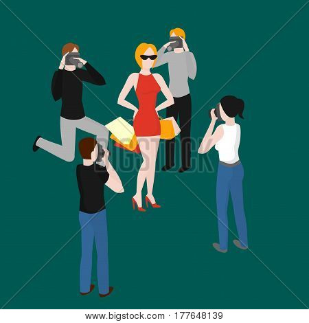 Flat isometric paparazzi taking pictures of popular superstar. Celebrity photographer shooting idol woman