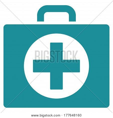 First Aid vector icon. Flat soft blue symbol. Pictogram is isolated on a white background. Designed for web and software interfaces.