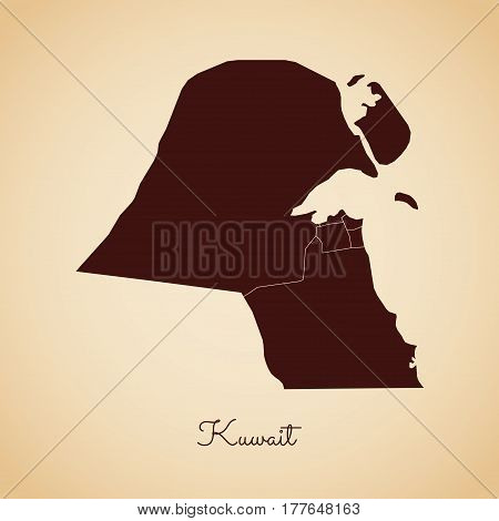 Kuwait Region Map: Retro Style Brown Outline On Old Paper Background. Detailed Map Of Kuwait Regions