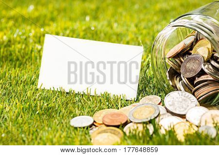 The coins in glass jar for money against green grass. Saving and investment financial concept