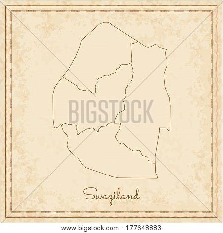 Swaziland Region Map: Stilyzed Old Pirate Parchment Imitation. Detailed Map Of Swaziland Regions. Ve