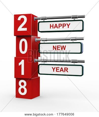 3d rendering of modern style signpost of happy new year 2018