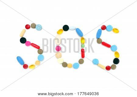 sos message pills drugs letters text over white