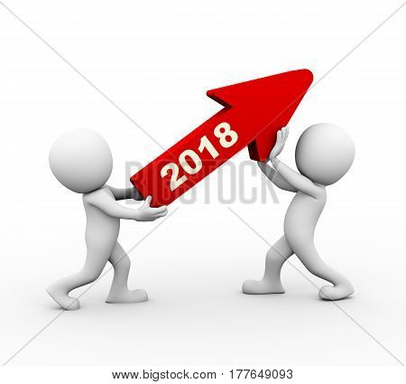 3d rendering of men holding upward growing new year 2018 arrow. 3d white person people man