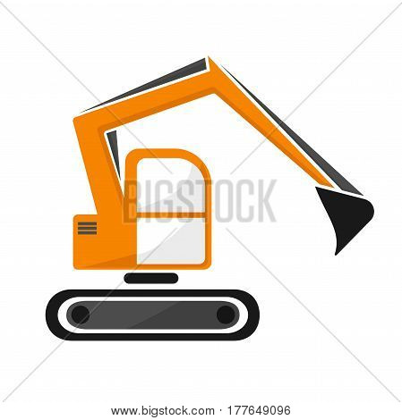 hydraulic excavator  dredge of orange color. isolated