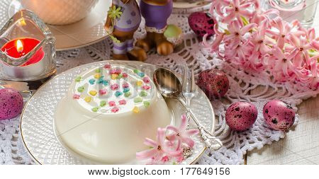 Easter. Desserts. The Beautifully Decorated Table.