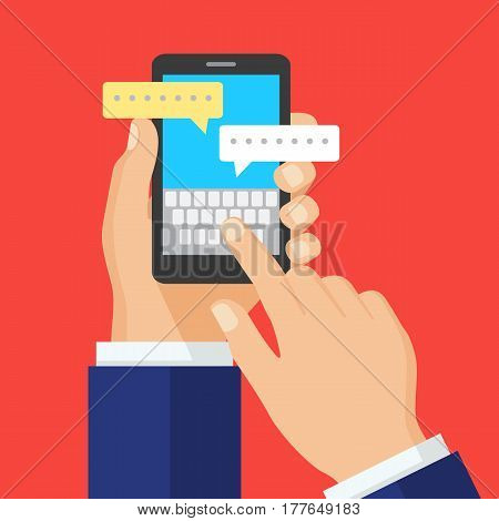 Hand with smartphone and chatting bubble speeches.Finger prints a message. Chat icon message on smartphone screen. Online conversation concept. Creative flat design vector illustration.