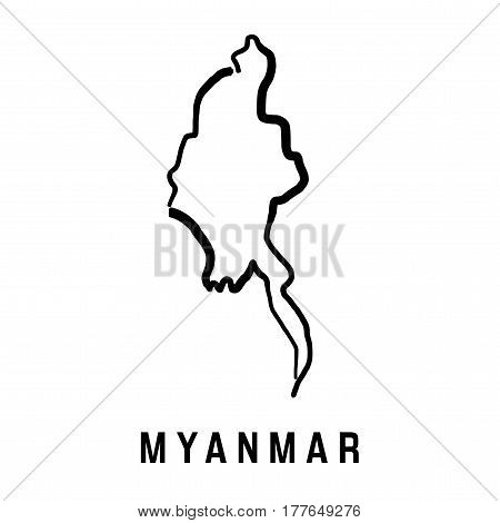 Myanmar simple map outline - smooth simplified country shape map vector.