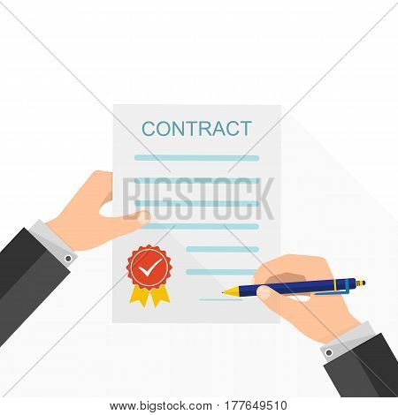 Agreement concept - hand signing of paper contract. Vector illustration. The concept of a successful transaction.
