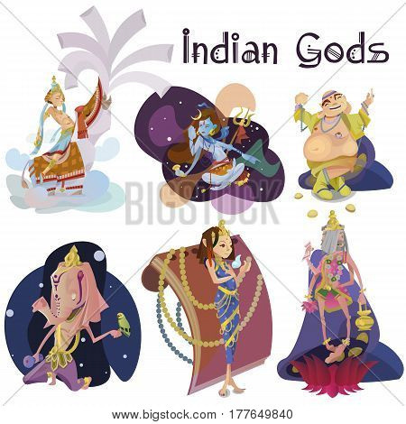 Set of isolated Indian Gods meditation in yoga poses lotus and Goddess hinduism religion, traditional asian culture spiritual mythology, deity worship festival vector illustrations, T-shirt concepts.