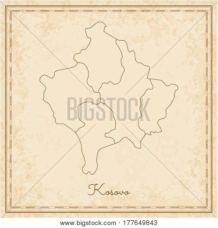Kosovo Region Map: Stilyzed Old Pirate Parchment Imitation. Detailed Map Of Kosovo Regions. Vector I