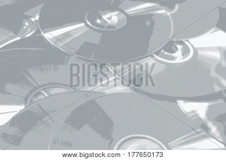Shiny CD Roms illustration in grey and white