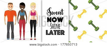 Healthy lifestyle flat vector illustration, Afro American and caucasian team of young man and women standing in sport clothes. Motivational quote text and dumbbell pattern.
