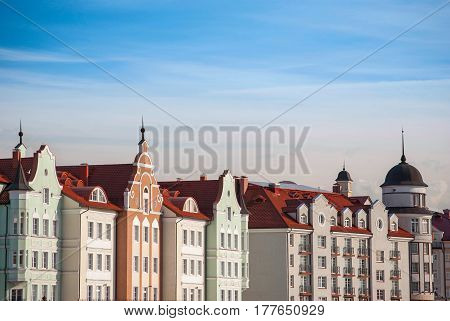 Styled European roofs and colored facades of vintage houses in Kaliningrad Russia
