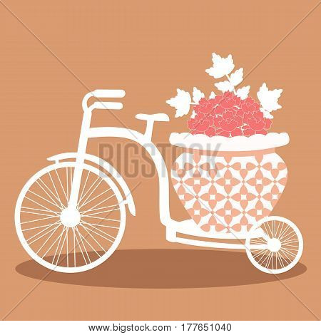 The decorative bicycle with flowers. Wedding bicycle isolated on a white background. Bicycle. Vector illustration.