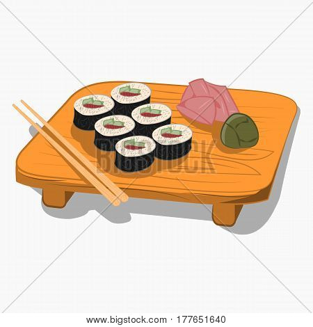 Sushi on the wooden plate  with chopsticks and accessories, cartoon Icon