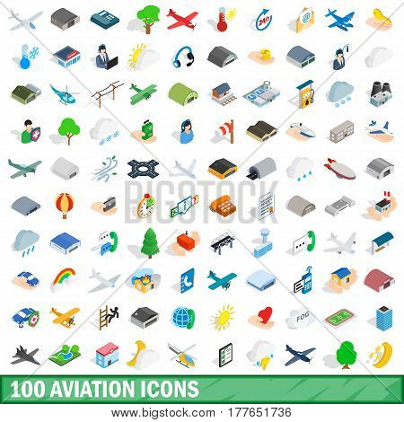 100 aviation icons set in isometric 3d style for any design vector illustration