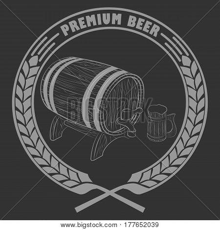 Vector illustration of a barrel of beer for lable.