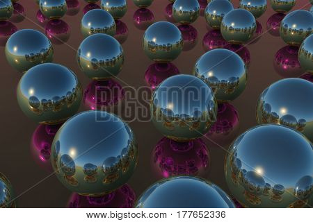 Balls Reflection Sky Red