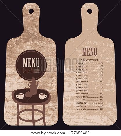 menu for the cafe with price list in the form of wooden cutting board with served table