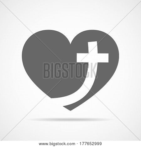 Christian cross icon in the heart inside. Gray christian cross sign isolated on light background. Vector illustration. Christian symbol.