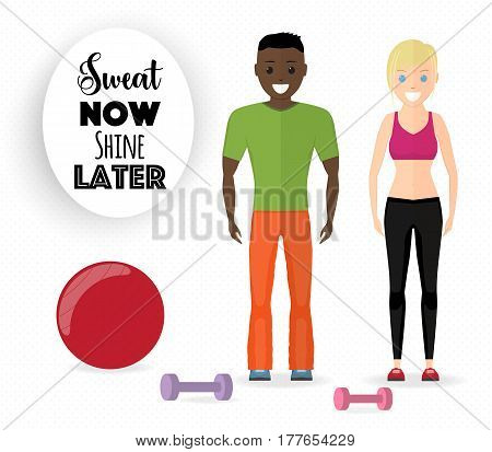 Afro American man and blonde woman at fitness center, flat vector illustration. Gym equipment and motivational quote, cartoon characters. Happy couple standing at gym.