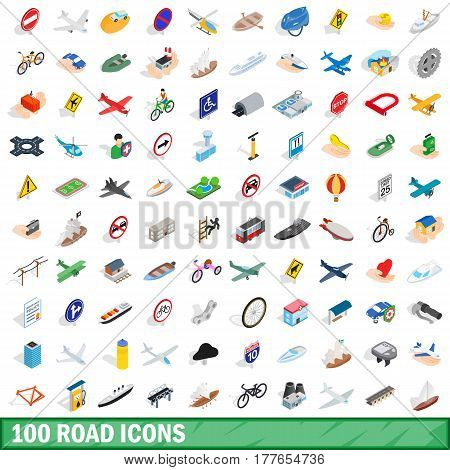 100 road icons set in isometric 3d style for any design vector illustration