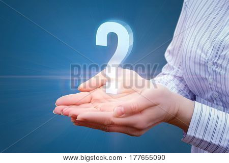 Question In Businesswoman Hand.