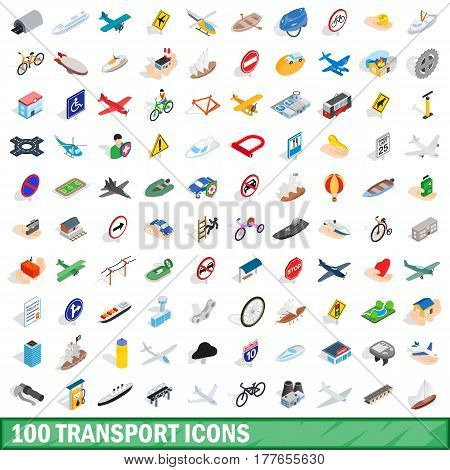 100 transport icons set in isometric 3d style for any design vector illustration