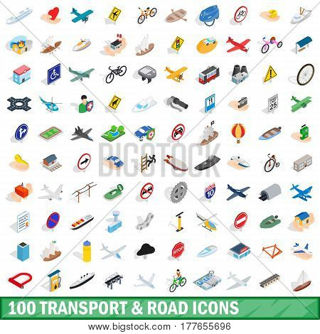 100 transport and road icons set in isometric 3d style for any design vector illustration