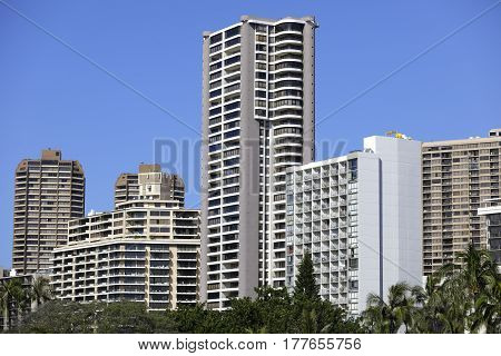 Stock image of highrise condos in Honolulu Waikiki Hawaii shot with a telephoto lens
