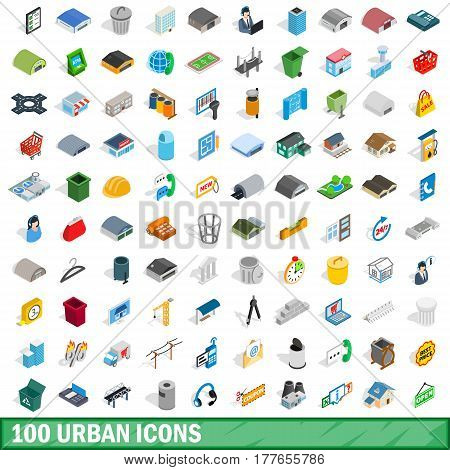100 urban icons set in isometric 3d style for any design vector illustration